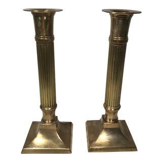 Brass Column Candlesticks - A Pair