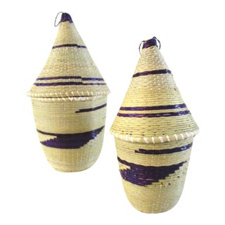 Rwandan Tan & Purple Tutsi Baskets - A Pair