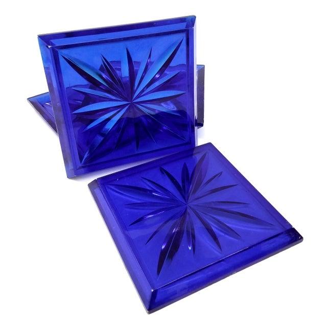 Mid Century Cobalt Blue Cut Lucite Coasters - 4 - Image 3 of 8