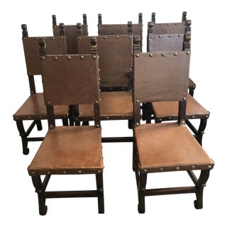 Rustic Spanish Style Leather/Hardwood Dining Chairs - Set of 8