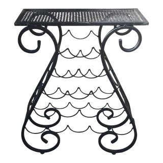 Vintage Iron Wine Rack Table