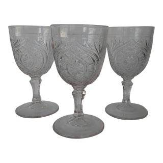 Antique Eapg Civil War Era Water Goblet - Set of 3