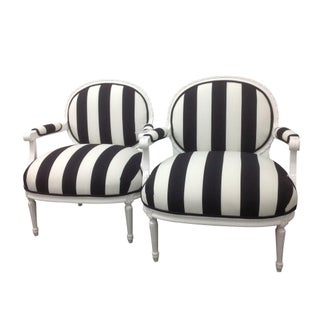 French Black & White Striped Chairs - A Pair