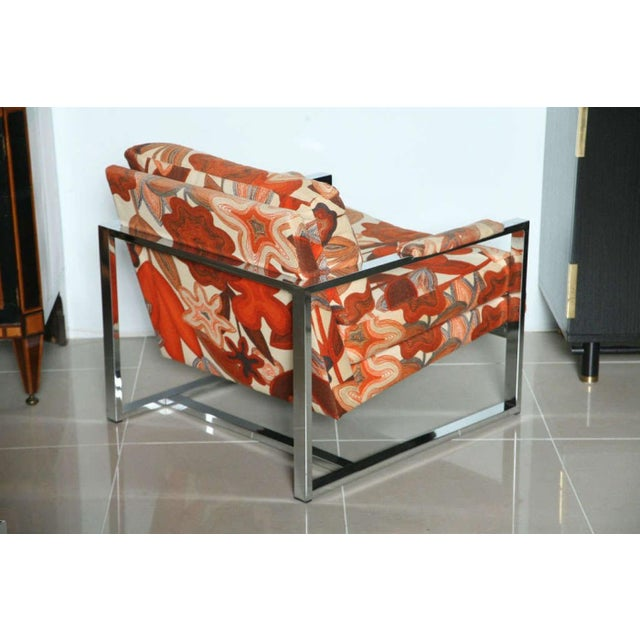 A Pair of Milo Baughman Polished Chrome Club Chairs - Image 6 of 9