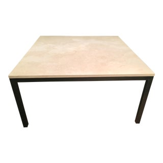 French Limestone & Steel Contemporary Modern Dining Table