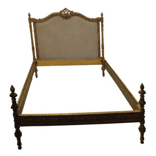 French Caned Antique Full Bed Frame