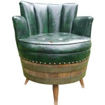 Image of Whiskey Barrel Naugahyde Swivel Chair