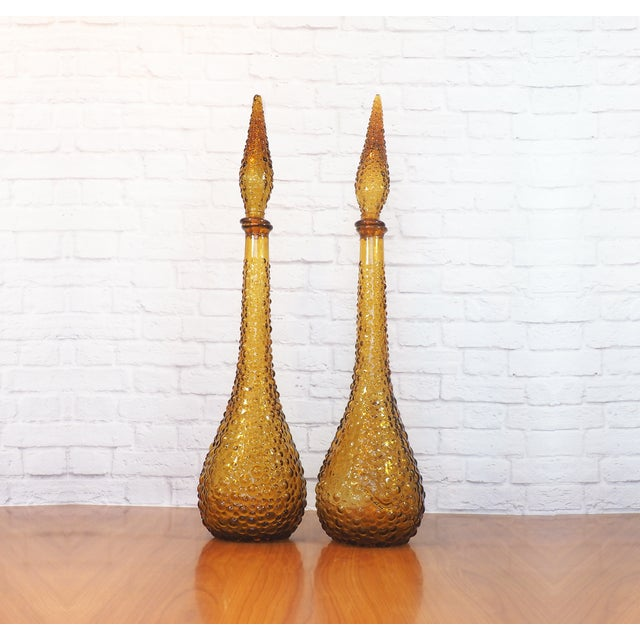 Image of Italian Empoli Bubble Glass Genie Decanters - Pair