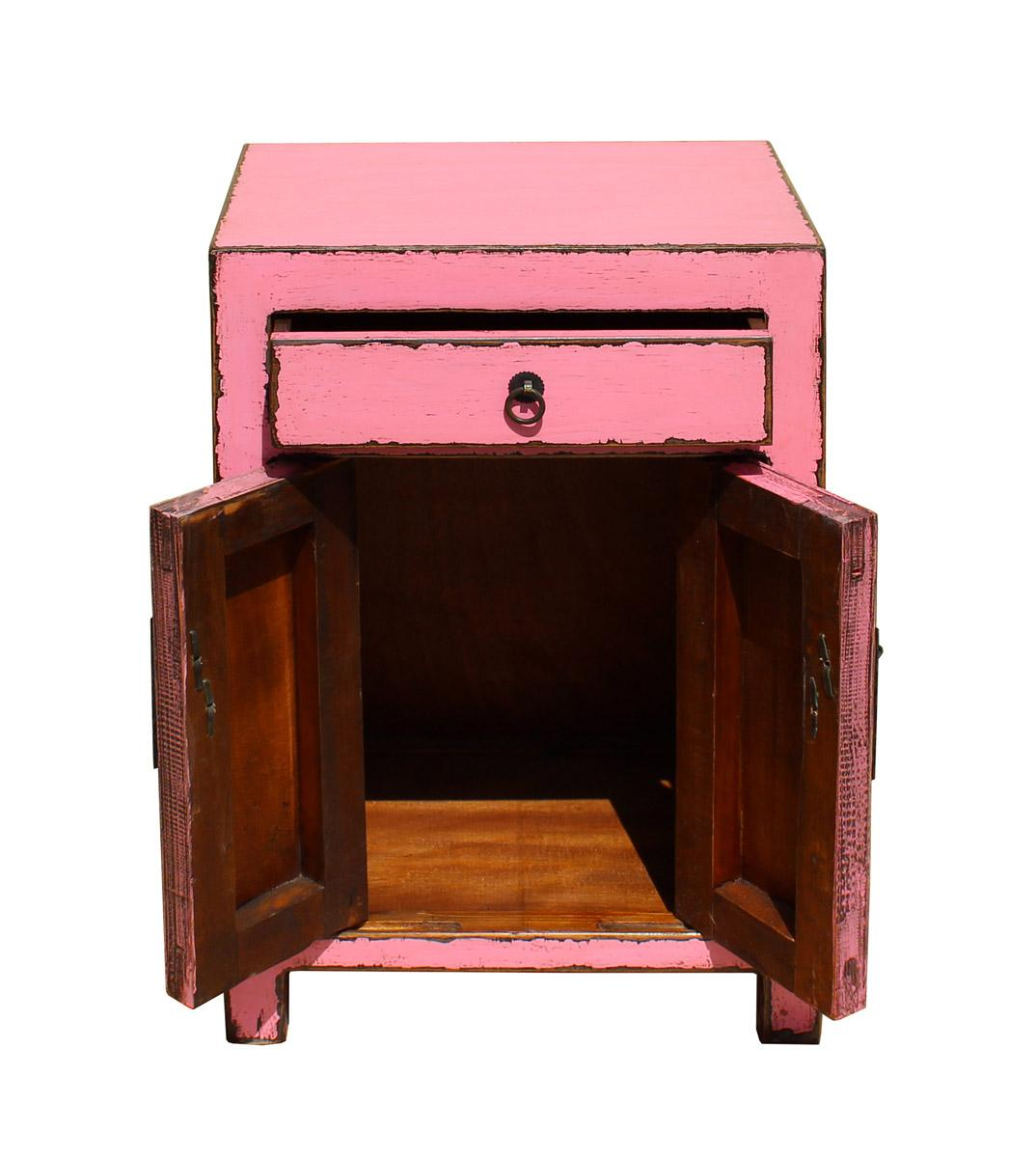Chinese Distressed Pink Round Moon Face End Table Nightstand Cs2640   Image  5 Of 7