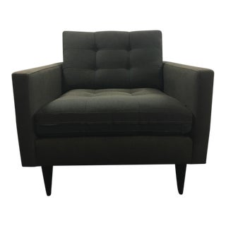 Crate Barrel Mid Century Modern Style Gray Upholstered Armchair