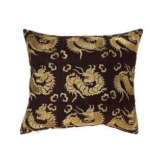 Embroidered Silk Dragon Pillow