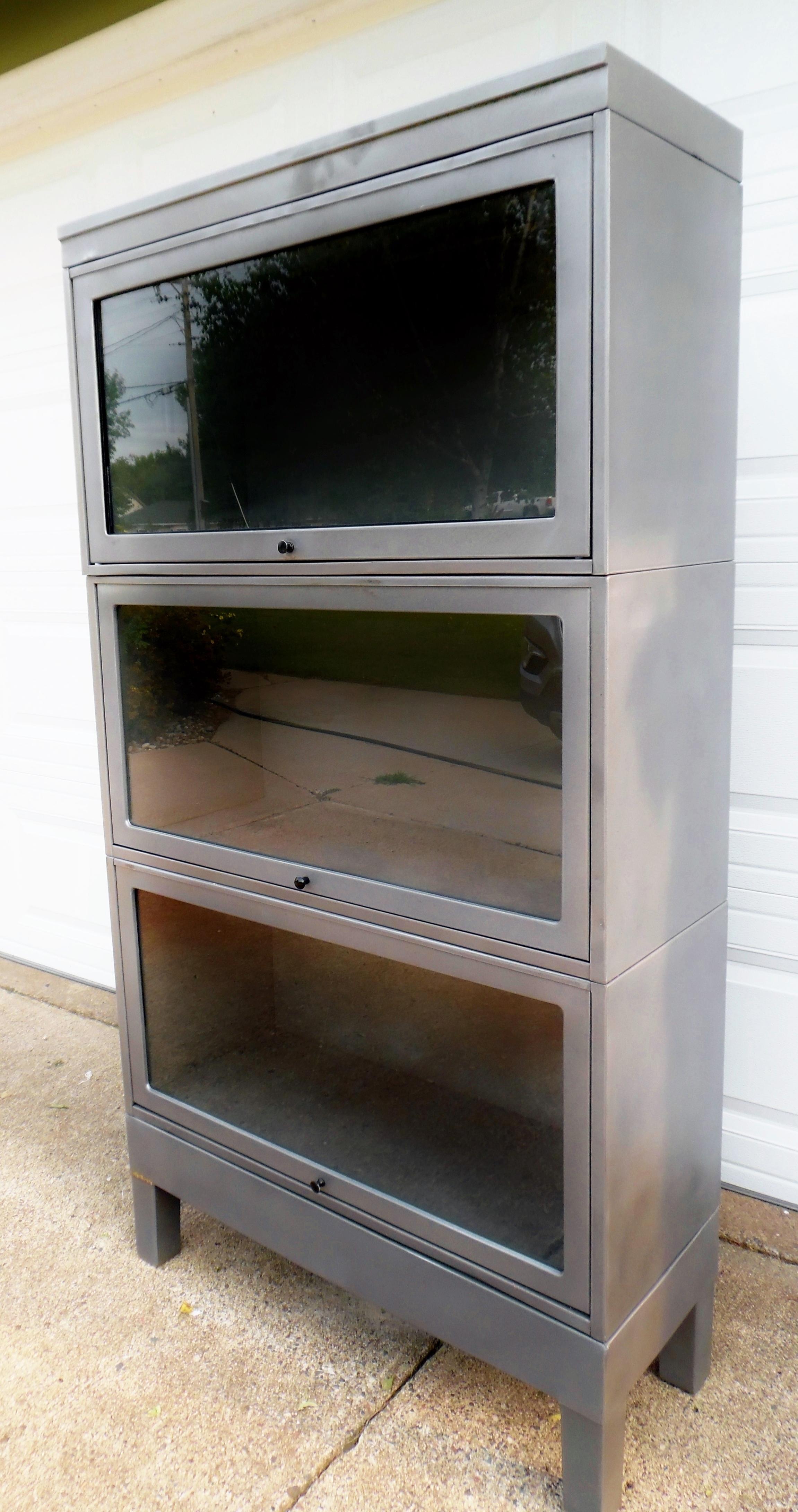 Steel Barrister Bookcase: Vintage Globe Wernicke Steel Stacking Bookcase