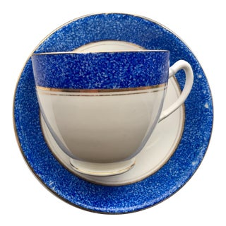 Royal Stafford Gilded Blue Rim China Cup and Saucer