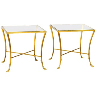 Pair of French 1950s Maison Baguès Style Tables Made of Glass and Gilt Bronze