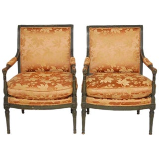 Louis XVI Painted Directoire Style Fauteuil Armchairs - A Pair