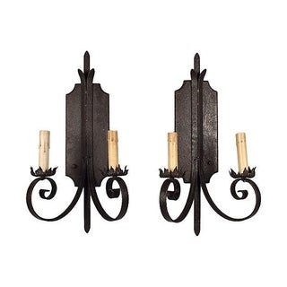 Iron & Wood Spanish Wall Sconces - A Pair