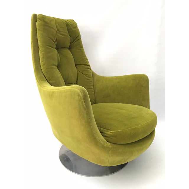 Milo Baughman Thayer Coggin Plush Mod Swivel Lounge Chair - Image 2 of 7