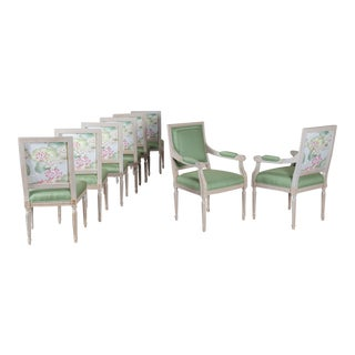 Neoclassical Painted French Dining Chairs, Louis XVI Style
