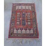 """Image of Vintage Handwoven Peach & Blue Rug - 4'10"""" x 3'2"""""""