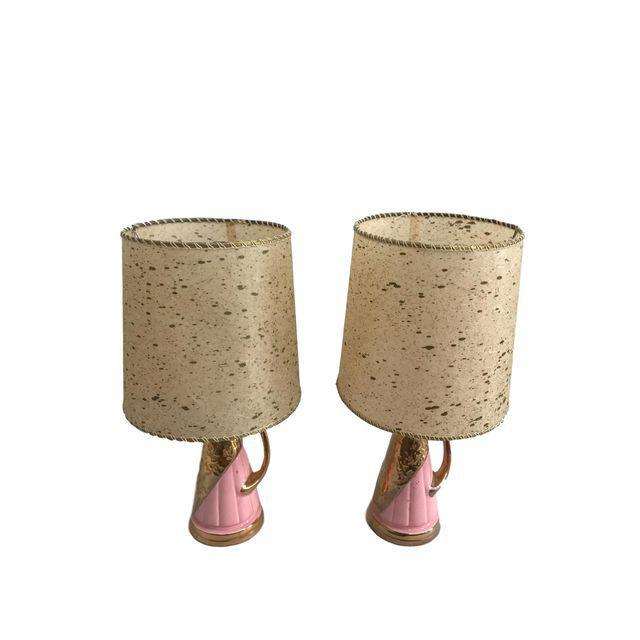 Pink & Gold Vintage Lamps - A Pair - Image 2 of 9
