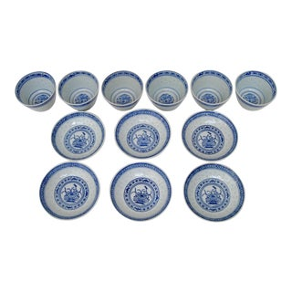 Chinese Rice Grain Cups & Plates - 12 Pieces