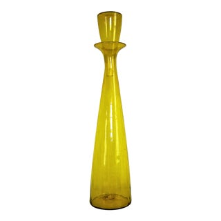 Vintage Wayne Husted Yellow Blenko Crackle Glass Architectural Floor Decanter- 1960s Mid Century Modern