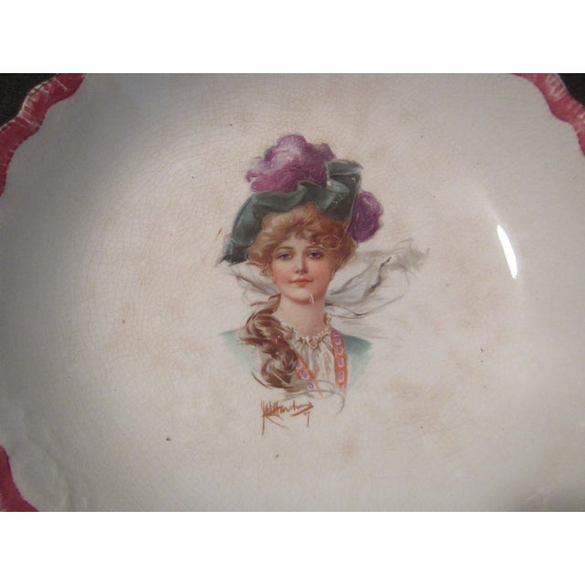 Signed 1907 Victorian Woman's Portraiture Bowl - Image 8 of 10