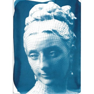 3d-Render of Victorian Woman Face, Cyanotype Print on Watercolor Paper, A4 Size (Limited Edition)