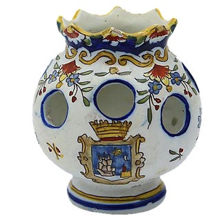 Antique French Faience Potpourri Pot