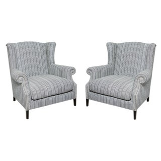 Designer Studded Wingback Armchairs - A Pair