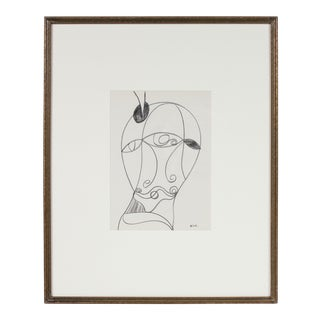 Surrealist Abstracted Portrait in Graphite, Framed