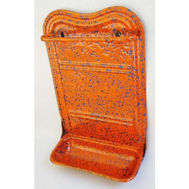 French Marbleized Enameled Utensil & Towel Rack - Image 3 of 7