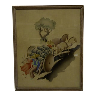 "Framed Original Air Brushed ""Pulling the Wagon"" Painting"