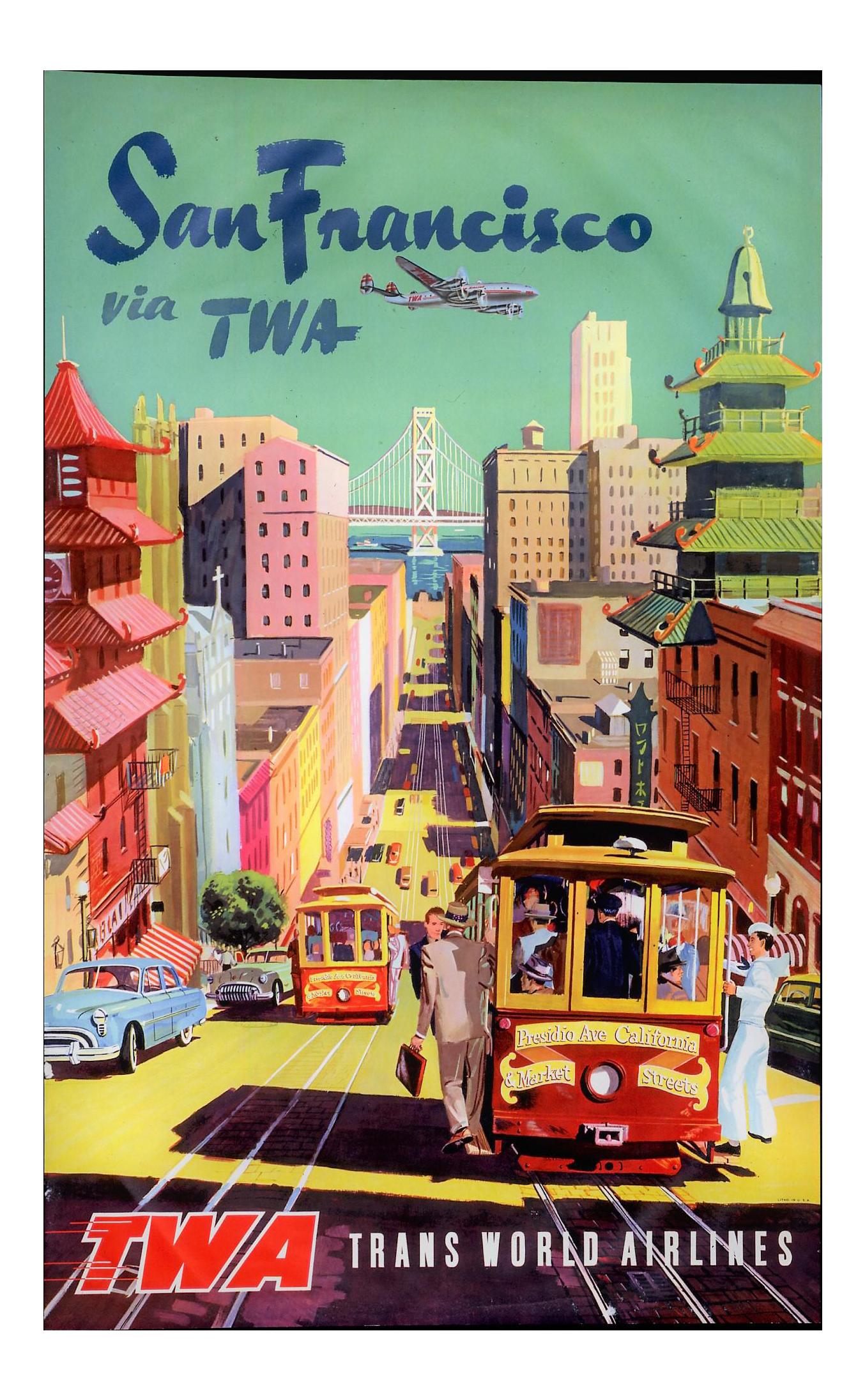 Wonderful Matted And Framed Vintage San Francisco Travel Poster   Image 1 Of 3