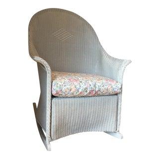 Lloyd Loom Gray Metal Rocking Chair
