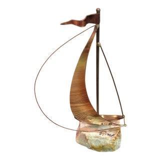 Mid-Century Brutalist Brass Sailboat by DeMott