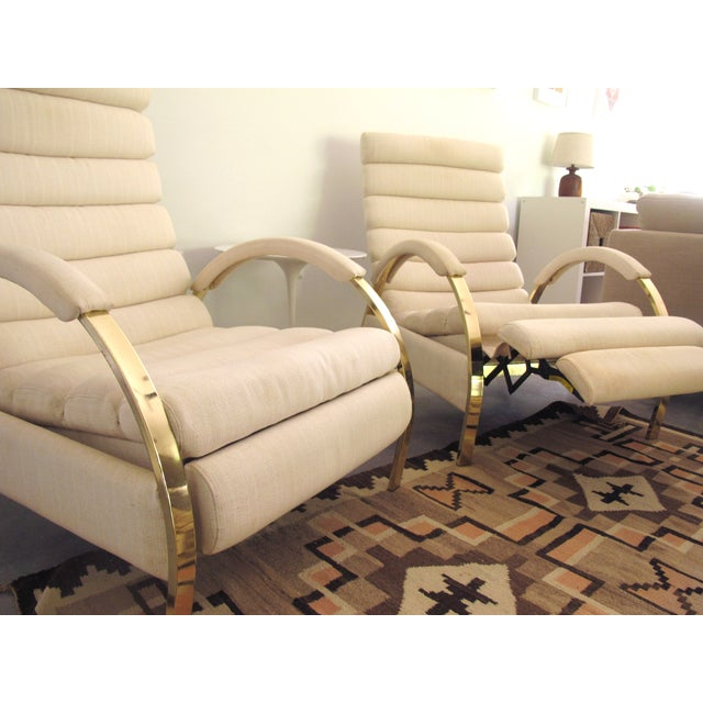 Image of Milo Baughman Dia Lounge Chairs Brass Toned - Pair