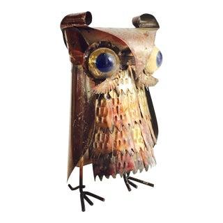 Vintage Brutalist Metal Owl Sculpture