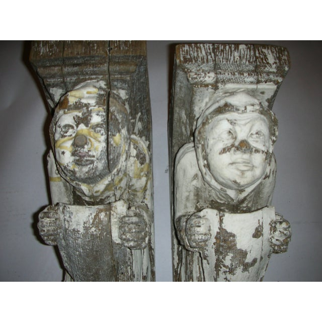 Antique Carved Oak Gargoyle Brackets - A Pair - Image 5 of 11