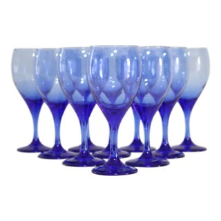 Blue Blown Glass Stemmed Goblets - Set of 10
