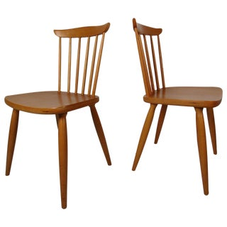 Paul McCobb Style Mid-Century Maple Dining Chairs - A Pair