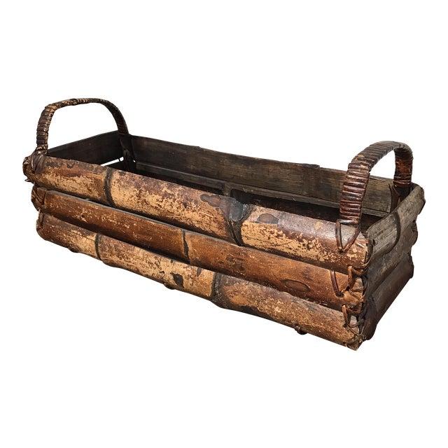 Asian Style Bamboo Trough Handled Basket - Image 1 of 9