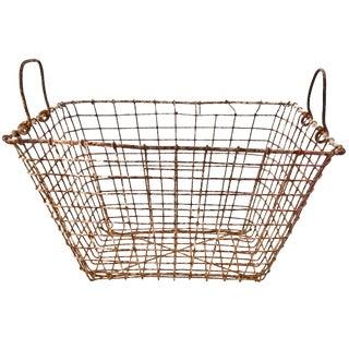 Vintage Belgian Rustic Wire Mussel Basket