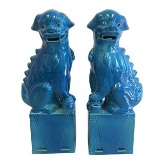Large Turquoise Foo Dogs - A Pair