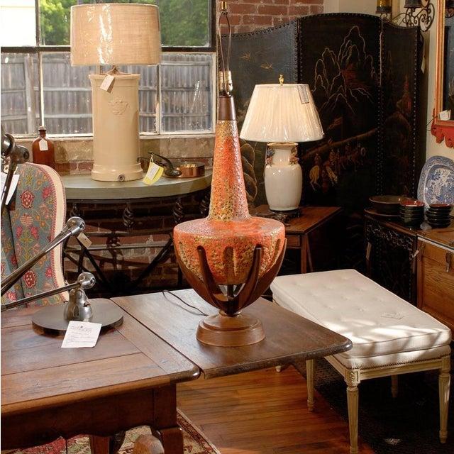 Sunset Lamps Mid-Century Orange Lava Glaze Lamp - Image 3 of 6