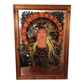 Mucha Style Art Nouveau Sarah Bernhardt Mirrored Wall Accent