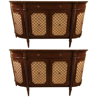 Pair of Demilune Maitland Smith Georgian Style Serving Cabinets or Commodes