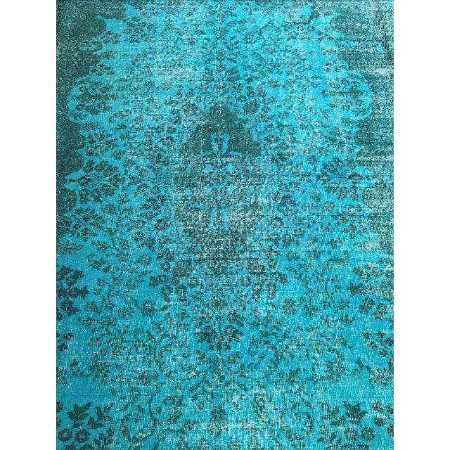 Vibrant Turquoise Overdye Rug - 6′4″ × 9′3″ - Image 2 of 3