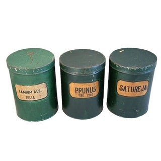 Antique Apothecary Herbalist Tins - Set of 3