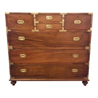Antique English Military Chest with Brass Mounts circa 1800-1820